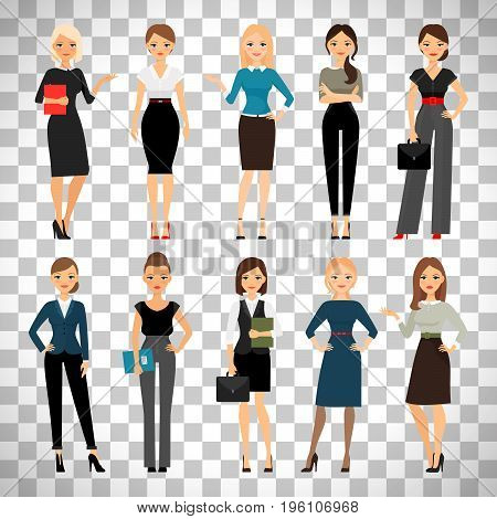 Women in office clothes. Beautiful woman in business clothes isolated on transparent background. Vector illustration