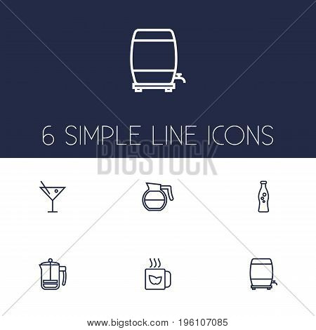 Set Of 6 Drinks Outline Icons Set
