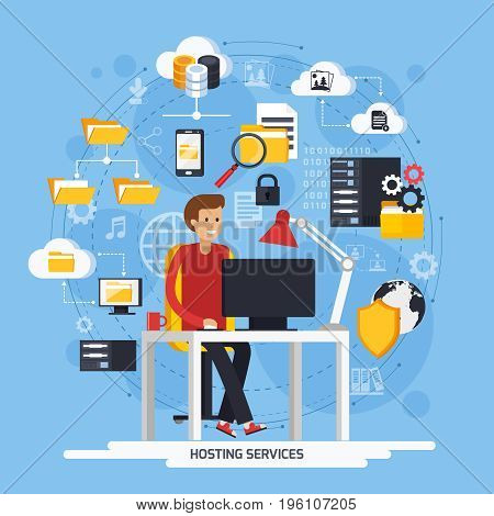 Hosting services concept with Internet and data symbols on blue background flat vector illustration