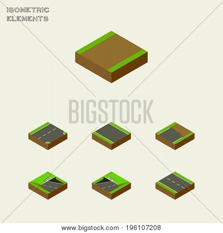 Isometric Road Set Of Unfinished, Underground, Single-Lane And Other Vector Objects