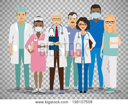 Medical team. Group of hospital workers vector illustration isolated on transparent background