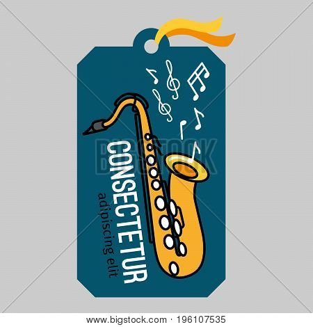 Music tag or musical label or banner with saxophone vector illustration