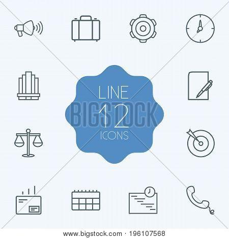 Set Of 12 Management Outline Icons Set