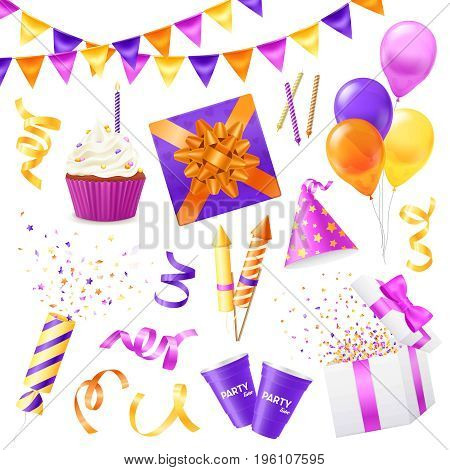 Colored and isolated realistic party icon set for birthday party new year party and for fun vector illustration