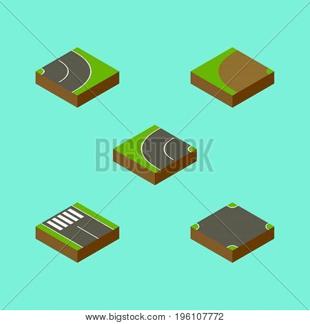 Isometric Road Set Of Asphalt, Strip, Crossroad And Other Vector Objects