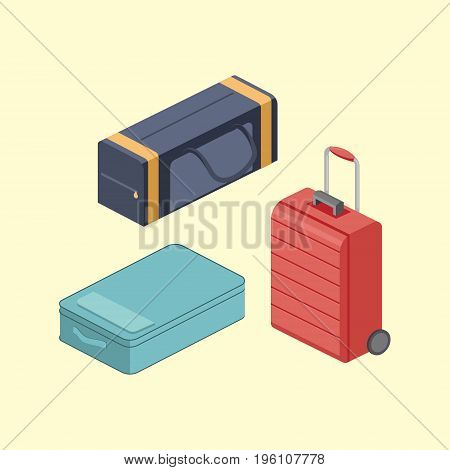 Travel bags. Colorful minimalistic isometric style vector illustration