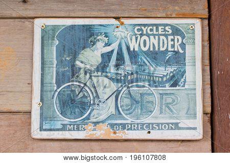 BANGKOK THAILAND - JULY 14 : retro Cycles Wonder poster advertisement on the wooden wall on July 14 2017 in Bangkok Thailand