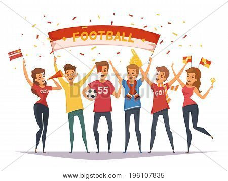 Colored fan rooter buff group composition with flags and banners girls and boys vector illustration