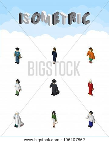 Isometric Human Set Of Doctor, Male, Lady And Other Vector Objects