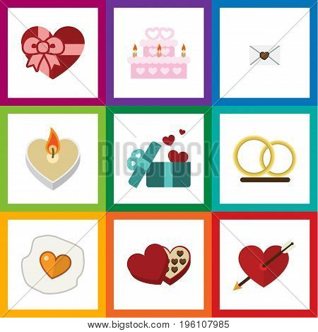 Flat Icon Love Set Of Patisserie, Gift, Scrambled And Other Vector Objects