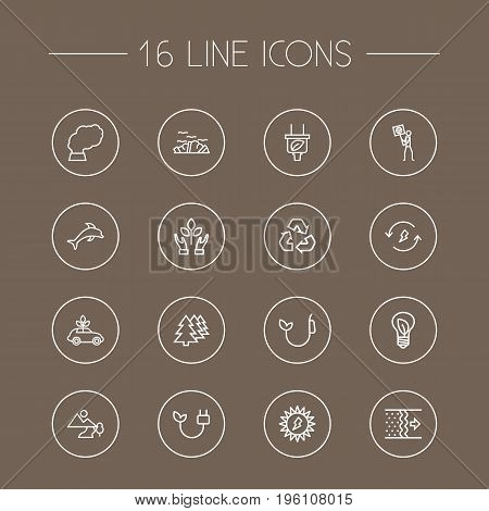 Set Of 16 Atmosphere Outline Icons Set
