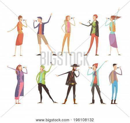 Set of ten flat isolated people characters at karaoke group party with microphones and colorful costumes vector illustration