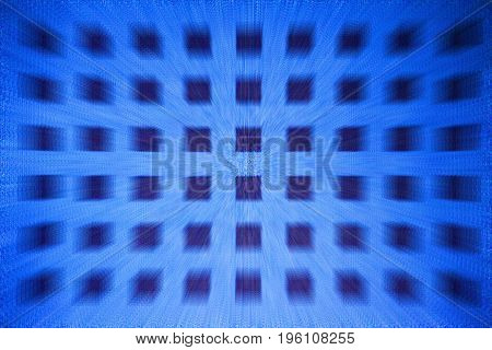 Blue tone square dots zoomed blur, motion picture
