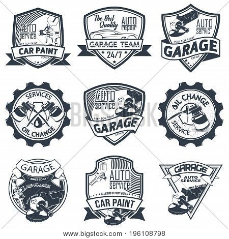 Set of nine auto repair logo isolated on white background, vector