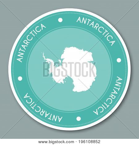 Antarctica Label Flat Sticker Design. Patriotic Country Map Round Lable. Country Sticker Vector Illu
