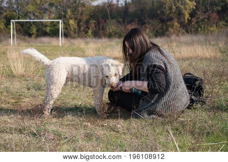 The girl and her tired dog take some rest