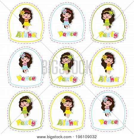 Aloha birthday cupcake topper with cute hawaiian girl on frame vector cartoon for birthday party cupcake topper and sticker set