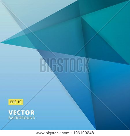 Abstract background. Origami and polygon geometric blue color overlap paper layer with copy space for text and message artwork design