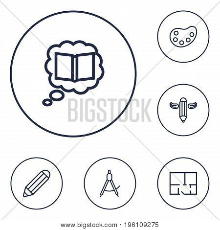 Set Of 6 Creative Outline Icons Set