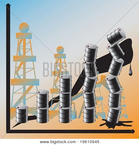 A price advance on oil conduces to the global crisis. There is a vectorial version in portfolio.