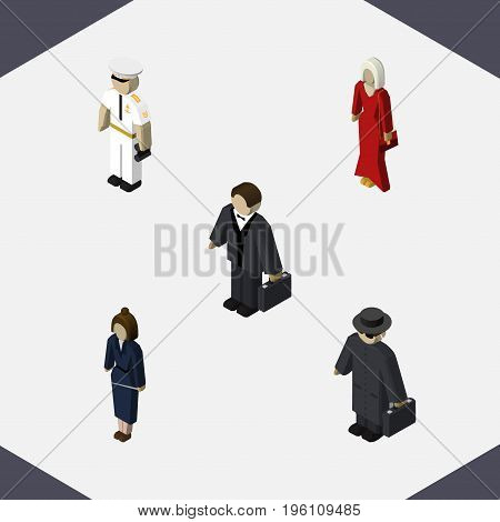 Isometric Human Set Of Seaman, Businesswoman, Female And Other Vector Objects