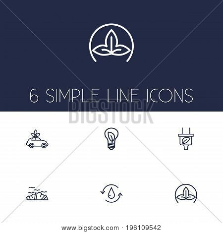 Set Of 6 Ecology Outline Icons Set