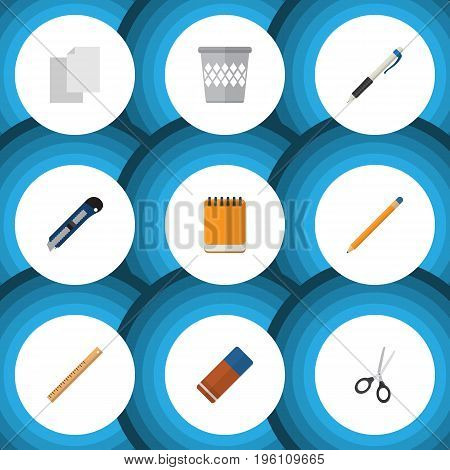 Flat Icon Stationery Set Of Rubber, Trashcan, Sheets And Other Vector Objects