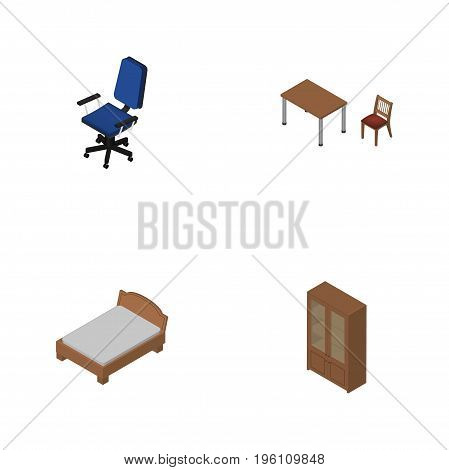 Isometric Furnishing Set Of Cabinet, Bedstead, Office And Other Vector Objects