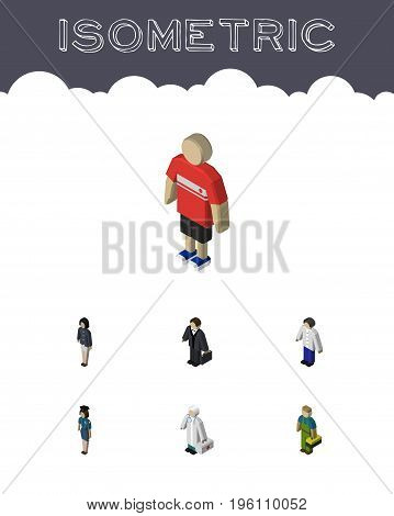 Isometric Person Set Of Male, Investor, Medic And Other Vector Objects