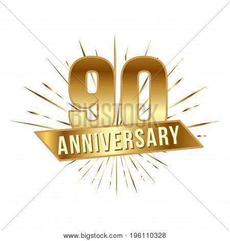Anniversary golden ninety years number. 90th years festive Logo and greeting with sunburst for invitation decor. Flat style vector illustration isolated on white background. Gold badge with ribbon