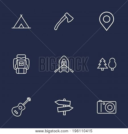 Set Of 9 Picnic Outline Icons Set