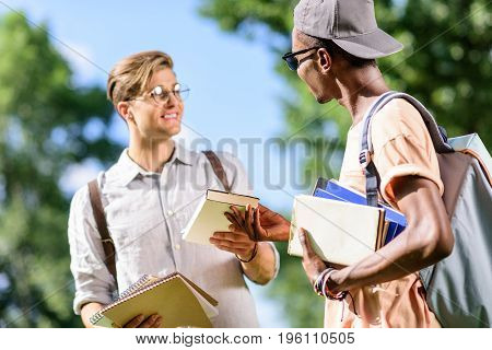 Young Handsome Multiethnic Students Holding Books And Looking At Each Other In Park