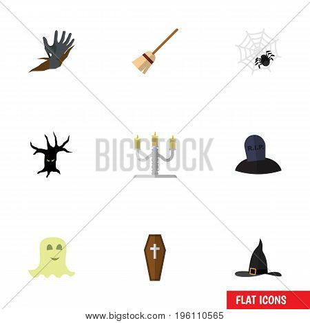 Flat Icon Festival Set Of Tomb, Spirit, Spinner And Other Vector Objects