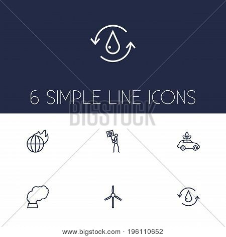 Set Of 6 Atmosphere Outline Icons Set