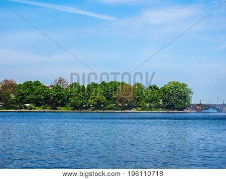 Binnenalster (inner Alster Lake) In Hamburg Hdr