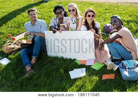 Cheerful Multiethnic Students Holding Blank Banner While Sitting On Green Grass