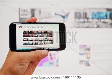 Kyiv, Ukraine - Jul 11,2017: Apple Iphone 7 With You Tube Application On The Screen At Hand.