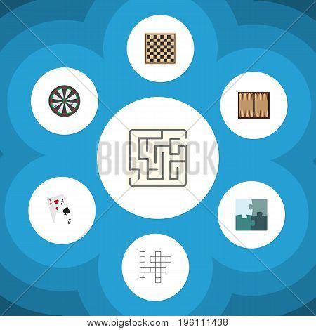 Flat Icon Entertainment Set Of Arrow, Chess Table, Ace And Other Vector Objects