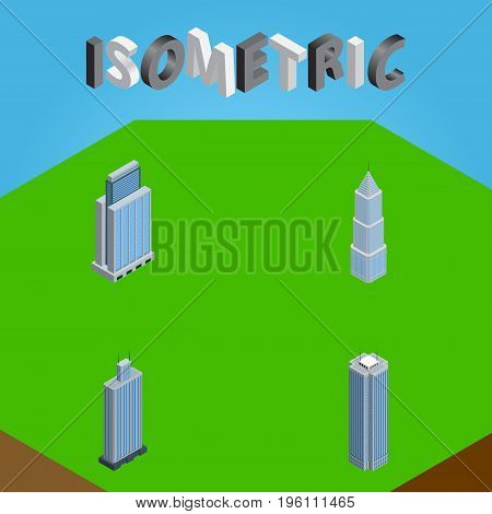 Isometric Skyscraper Set Of Exterior, Urban, Skyscraper And Other Vector Objects
