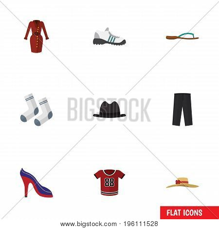 Flat Icon Clothes Set Of Panama, Elegant Headgear, Foot Textile And Other Vector Objects