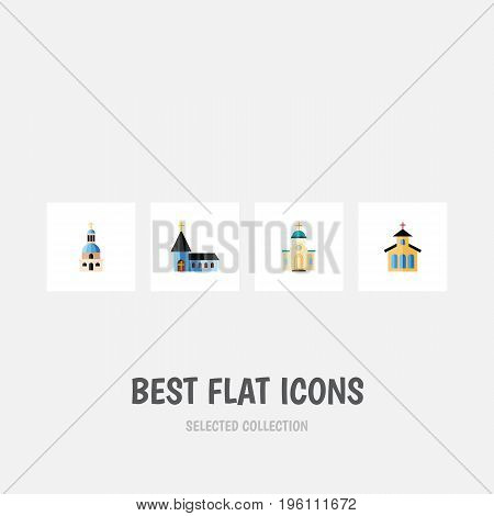Flat Icon Church Set Of Catholic, Christian, Church And Other Vector Objects