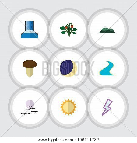 Flat Icon Nature Set Of Berry, Champignon, Tributary And Other Vector Objects