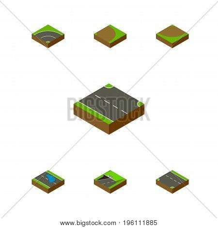 Isometric Road Set Of Rotation, Plash, Subway And Other Vector Objects