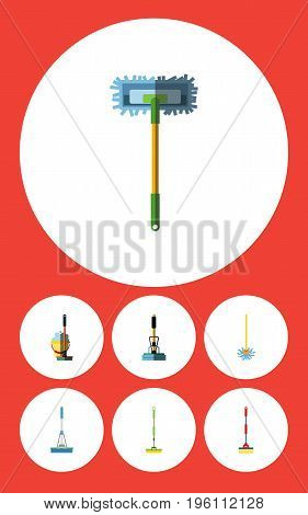 Flat Icon Cleaner Set Of Broomstick, Sweep, Cleaning And Other Vector Objects