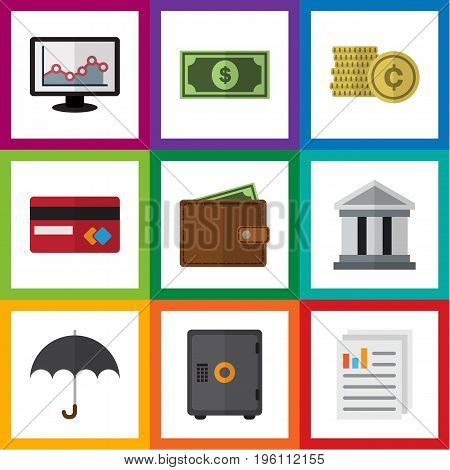 Flat Icon Incoming Set Of Cash, Bank, Document And Other Vector Objects
