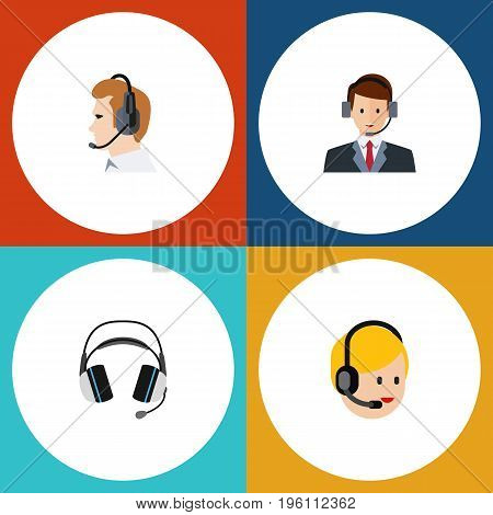 Flat Icon Call Set Of Earphone, Telemarketing, Hotline And Other Vector Objects