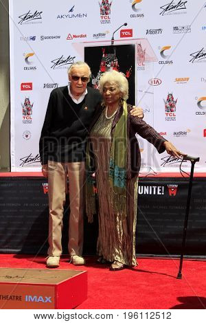 LOS ANGELES - July 18:  Stan Lee, Nichelle Nichols at the Stan Lee Hand and Footprint Ceremony at the TCL Chinese Theater IMAX on July 18, 2017 in Los Angeles, CA