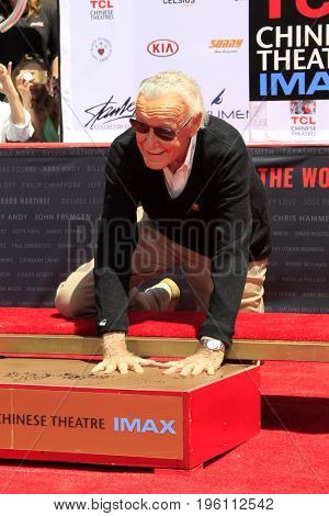 LOS ANGELES - July 18:  Stan Lee at the Stan Lee Hand and Footprint Ceremony at the TCL Chinese Theater IMAX on July 18, 2017 in Los Angeles, CA