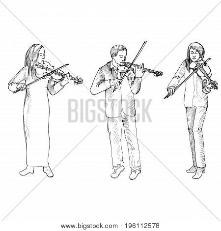 Sketch of man and women playing the violins, Violinists, hand drawn vector illustration
