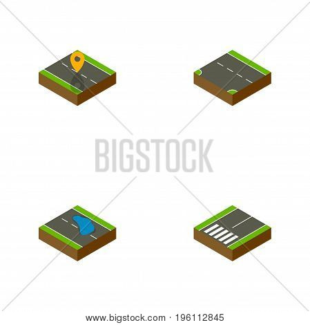 Isometric Road Set Of Plash, Navigation, Footpassenger And Other Vector Objects